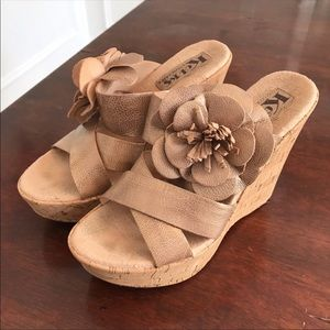 Kork Ease Open Toe Floral Strappy Wedge Sandals